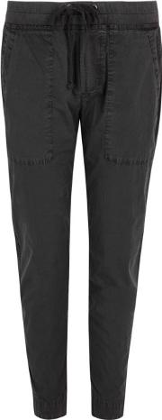 Charcoal Stretch Cotton Trousers