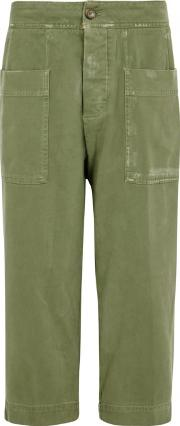 Olive Cropped Cotton Trousers