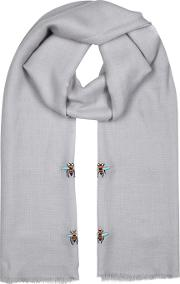 Bee Embroidered Grey Cashmere Scarf