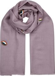 Devil Eyes Embellished Merino Wool Scarf