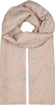 Rose Dust Embroidered Cashmere Scarf