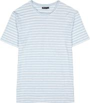 Coma Striped Blue And White Linen T Shirt