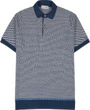 Observe Jacquard Intarsia Knitted Wool Polo Shirt