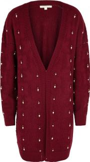 Embellished Textured Knit Cardigan