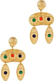 Gold Tone Embellished Clip On Drop Earrings