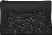 Black Tiger Embroidered Nylon Pouch