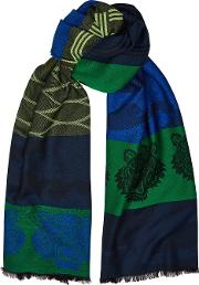 Green And Blue Tiger Jacquard Scarf