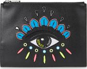 Icon Embroidered Leather Pouch