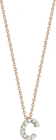 14ct Rose Gold And Diamond C Initial Necklace