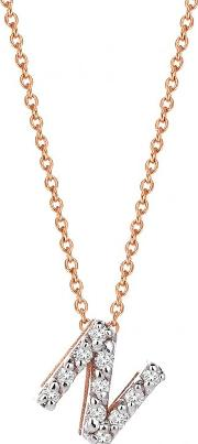 14ct Rose Gold And Diamond N Initial Necklace