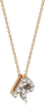 14ct Rose Gold And Diamond R Initial Necklace