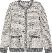 Ivory Metallic Textured Knit Cardigan