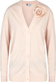 Pink Floral Embellished Wool Blend Cardigan