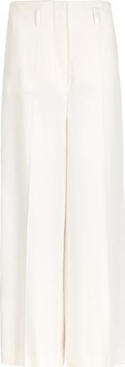 White High Waisted Wide Leg Trousers Size 6