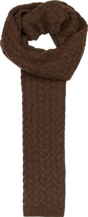 Brown Cable Knit Alpaca Blend Scarf