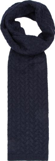 Navy Cable Knit Alpaca Blend Scarf