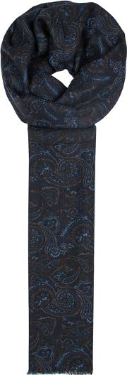 Navy Paisely Jacquard Wool Scarf