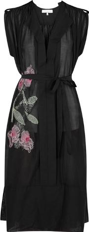 Lila. Eugenie Black Floral Embroidered Voile Dress