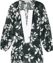 Lila. Eugenie Navy Leaf Print Voile Blouse