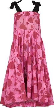 Lila. Eugenie Pink Floral Print Voile Dress