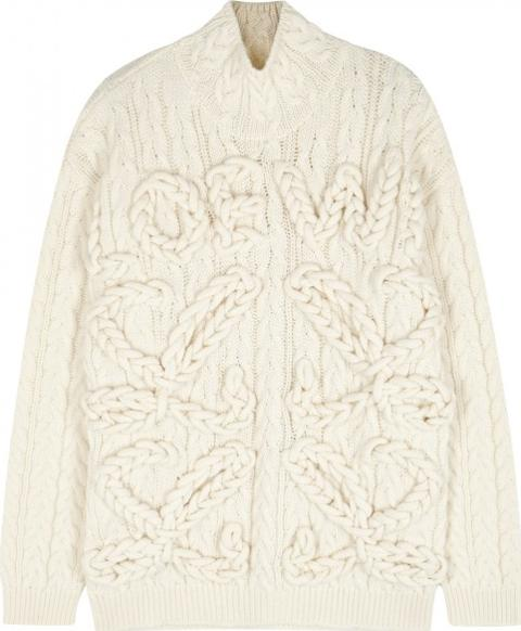 c2320f6dde loewe Cream Overized Cable Knit Wool Jumper Ize M