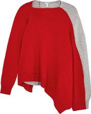 Red And Grey Asymmetric Wool Blend Jumper
