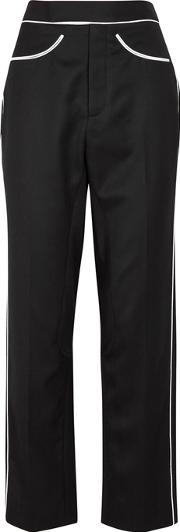 Black Contrast Trimmed Wool Trousers