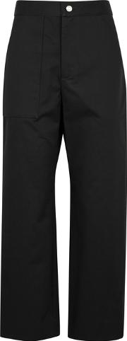 Black Cropped Wide Leg Twill Trousers