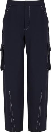 Navy Stretch Wool Cargo Trousers