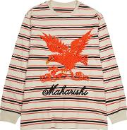 Eagle Embroidered Striped Cotton Top