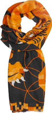 Tiger Cashmere And Wool Blend Scarf