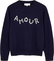 Amour Daisy Embroidered Wool Jumper