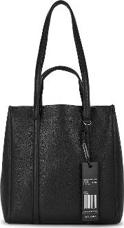 The Tag Black Grained Leather Tote