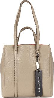 The Tag Grey Grained Leather Tote