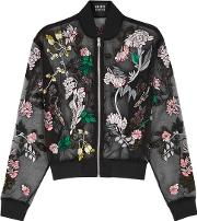 Charlotte Embroidered Organza Bomber Jacket