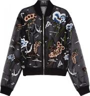 Charlotte Embroidered Organza Bomber Jacket Size S