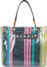Glossy Grip Striped Coated Canvas Tote