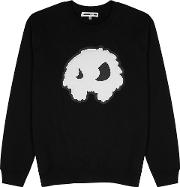 Black Monster Embossed Cotton Sweatshirt