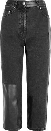 Dark Grey Cropped Panelled Jeans