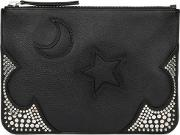 Large Black Leather Studded Pouch