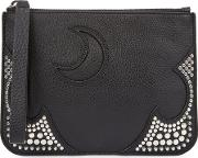 Medium Black Studded Leather Pouch