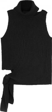 Black Cut Out Ribbed Jumper Size Petite