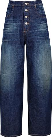 Dark Blue High Rise Relaxed Jeans