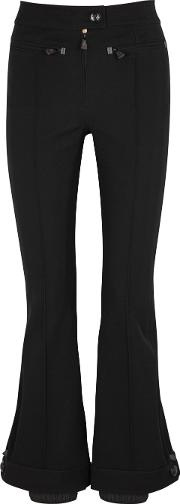 Black Flared Stretch Twill Trousers