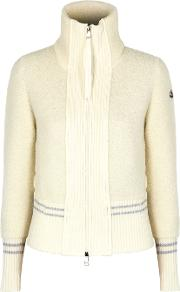 Cream Panelled Wool Boucle Cardigan