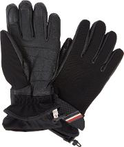 Technical Black Twill And Leather Gloves