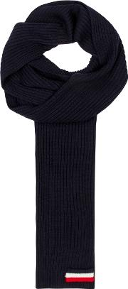 Navy Ribbed Knit Wool Scarf