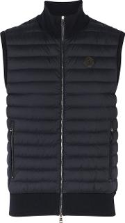 Navy Shell And Stretch Knit Gilet