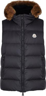 Youri Navy Fur Trimmed Shell Gilet