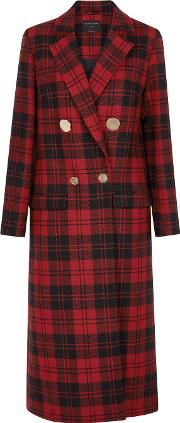 Mable Plaid Double Breasted Wool Coat